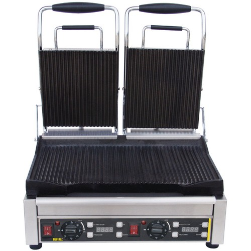 Buffalo Double Contact Grill Ribbed Plates